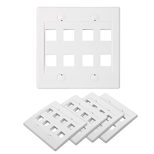Cable Matters (5-Pack) Double Gang 8-Port Keystone Jack Wall Plate in White