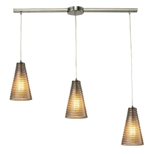 Elk 10333/3L Ribbed Glass 3 Light Linear Pendant in Satin Nickel and Mercury Glass 122674