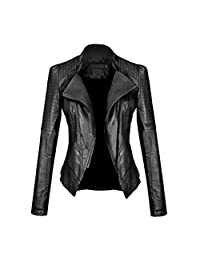 SFY Women Fashion Long Sleeve Slim Fitted Zip-up Faux Leather Biker Jacket