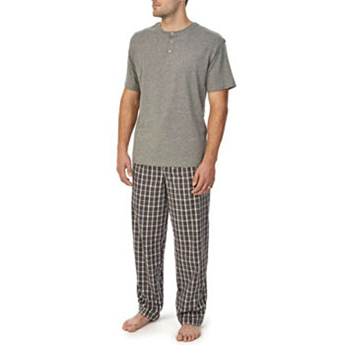 (Majestic Men's 2-Piece Pajama Set Short Sleeve 3 Button Henley, Elastic Waistband with Drawstring (Large, Gray))