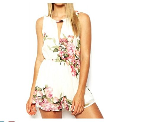 New Arrival Stylish Scoop Collar Sleeveless Floral Print Hollow Out Women's Jumpsuit