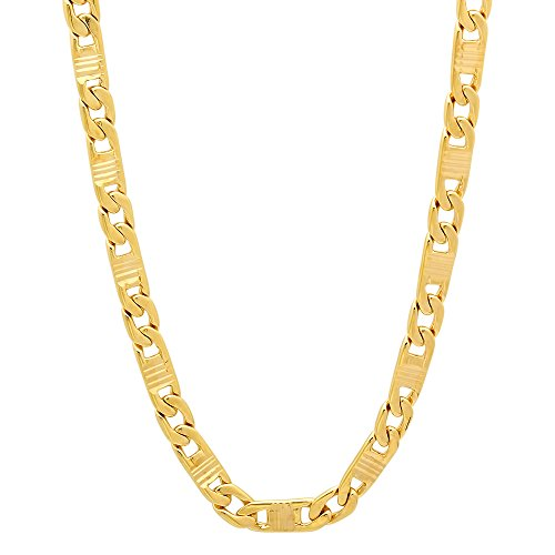 The Bling Factory 4mm 14k Yellow Gold Plated Groove Textured Flat Mariner Link Chain, 16