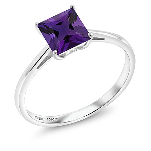 - Gem Stone King Purple Amethyst 10K White Gold Women's Ring (0.98 Ct Princess Cut Available in size 5, 6, 7, 8, 9)