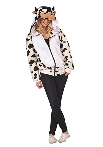 [Casey The Cow Hoodie- Adult (Cow Print/White;Small)] (Women Cow Costumes)
