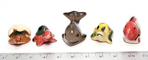 Mini Pirate Skull Figurine (Whale Fish and Turtle Aquatic Animals Ceramic Mini Animals Dollhouse Miniatures Figurine set 5 pcs.)