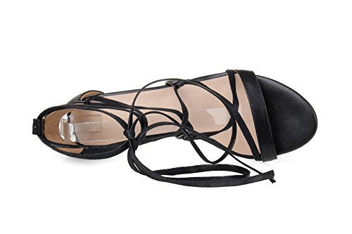 AmoonyFashion Womens Solid Soft Material Kitten-Heels Lace-up Open-Toe Sandals Black qMsdYJMqZJ