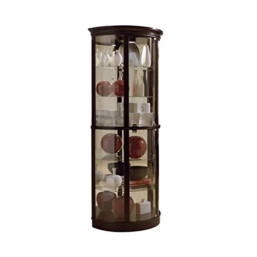 Dining Room Glass Curio Cabinet - Pulaski Half Round Curio, 32 by 17 by 76-Inch, Dark Brown