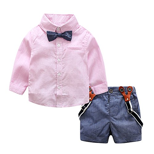 [Diamondo 2pcs Baby Kids Toddler Boys Gentlemen Bowknot Shirt Suspender Pants Outfit (Pink, Age :] (Spongebob Outfit)