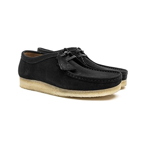 Clarks Originals Mens Black Wallabee Suede Shoes Negro