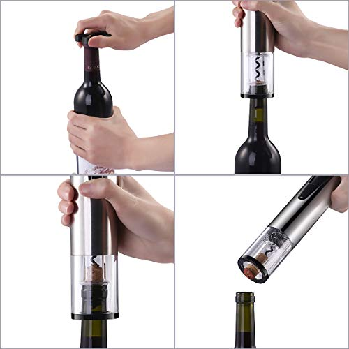 Electric Wine Bottle Opener with Wine Preserver 2-in-1 Vacuum Pump and Bottle Opener with Markable Wine Stopper, Foil Cutter and Collectible Recharging Base (18/8 Steel) by CUSIBOX (Image #7)
