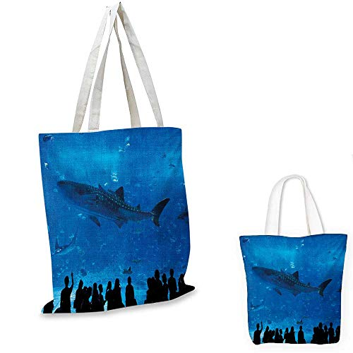 Shark portable shopping bag Japanese Aquarium Park with People Silhouettes Watching Underwater Life Hobby Image shopping bag for women Blue Black. -