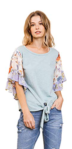 - Umgee Women's Floral Mixed Print Ruffle Sleeve Knit Top (Small, Dusty Mint)