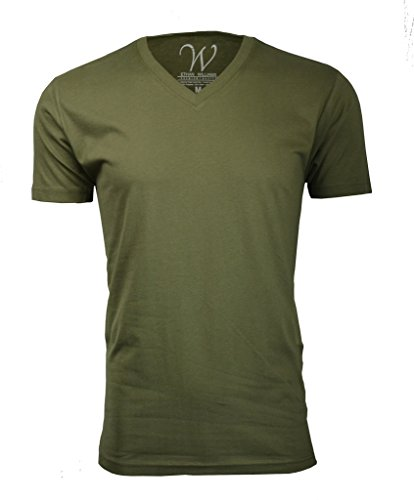 100% Cotton Made in The USA Ultra Soft Sueded Semi-Fitted V-Neck T-Shirt Military Green