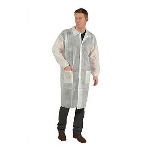 BIPEE Non Woven Fabric Disposable Lab Coat (Pack of (Disposable Lab Coat)
