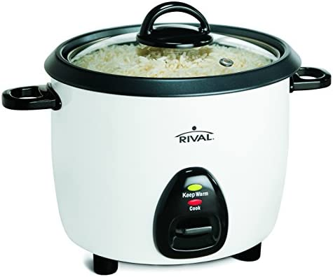Rival 10-Cup Rice Cooker with Steamer Basket, White Black RC101, 10-cup cooked rice capacity
