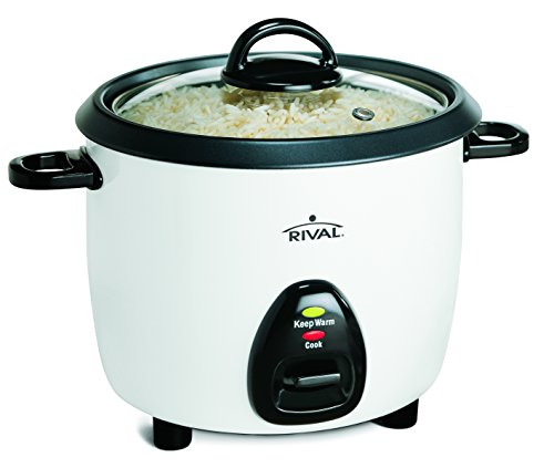 Rival 10-Cup Rice Cooker with Steamer Basket, White/Black (RC101) by Rival