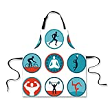Kitchen Apron,Fitness,Graphic Circular Icons with Jogging Swimming Meditation Sports Themed Signs Decorative,Teal Red White,Fashion Apron.29.5''x26.3''