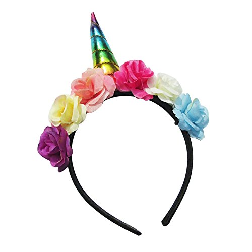 Cosplay Accessories (ACTLATI Girls Unicorn Hair Hoop Kids Flower Unicorn Horn Headband Cosplay Accessory)