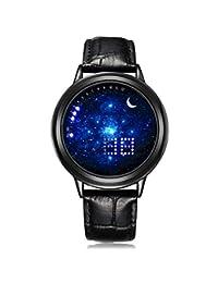 Fishinnen Buena Calidad Reloj de Pantalla táctil Starry Sky de Moda Unisex LED Sports Casual Correa de Cuero Reloj de Pulsera de Cuarzo Regalo