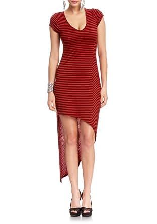 2B Striped V-neck Asymmetrical Dress 2b Day Dresses Red/black-xxs