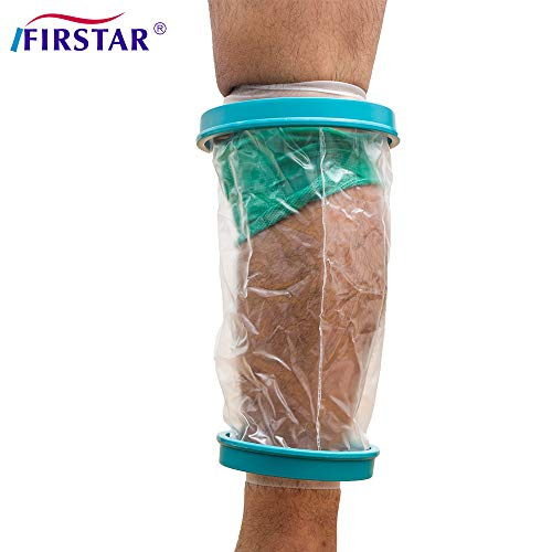 (Knee Cast Cover for Shower Adult, Waterproof Knee Shower Cast and Bandage Protector for Leg Watertight Protection to Knee Replacement Surgery, Wound, Incision Reusable)