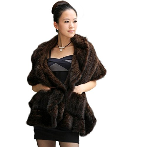Ferrand Women's Large Real Genuine Knitted Mink Fur Stole Shawl With Pocket Brown by Ferrand