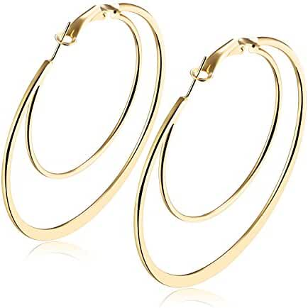 18K Gold Plated Big Rounded Click-Top Double Circles Hoop Earrings for Women Girls 40mm-70mm Diameter