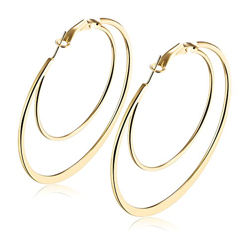 Moniya Women Fashion Earrings Hypoallergenic White Gold or 18k Gold Plated Double Circles Hoop Earrings (Gold Mm 60 Hoops)