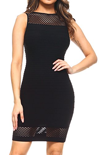 ICONOFLASH Women's Bodycon Mini Dress (Black, Large) (Mic Prom Dresses)