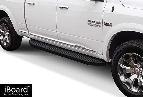 APS iBoard Black Running Boards Style Custom Fit 2009-2018 Dodge Ram 1500 Crew Cab Pickup 4-Door & 2010-2019 Ram 2500 3500 (Exclude Chassis Cab Diesel Models) (Nerf Bars Side Steps) 6in Wide Aluminum