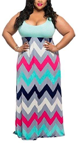 Print Striped Summer Plus Long Dresses Dress 2 Size Chevron Jaycargogo Maxi Women's Tank ntIHqAf
