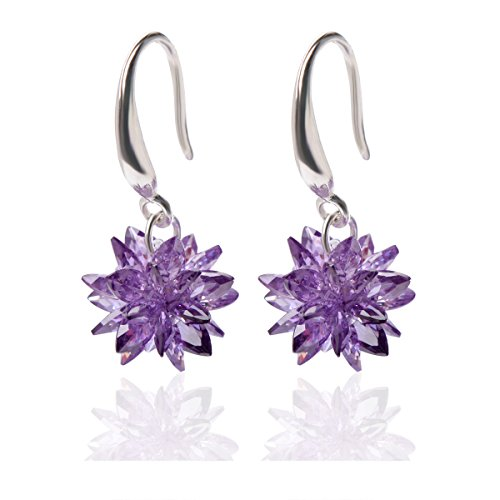 Qise Luxury Inlaid Rhinestone and Glass Dangle Earrings (Purple Ice Flower - Glasses For Guys Fake