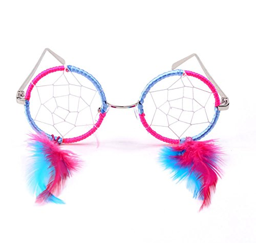 Trippy/Plurfect Lights Cotton Candy Native American Indian DreamCatcher Hand Made Glasses -