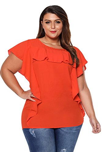 Eastylish Women's Orange Ruffled Detail Flutter Sleeves Blouse Round Neckline Plus Size Tops 4XL (Sleeve Tops Plus Flutter)