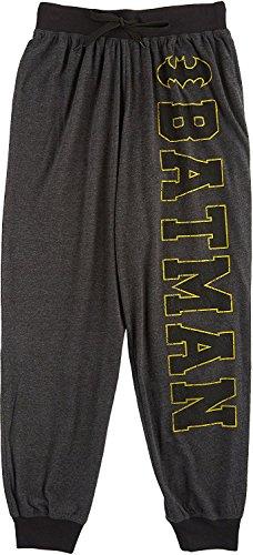 DC Comics Mens Batman Logo Knit Pajama Pants X-Large Dark grey/yellow