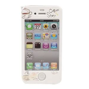 Protective Cartoon Back & Front Case for iPhone 4 / 4S (Coffee)