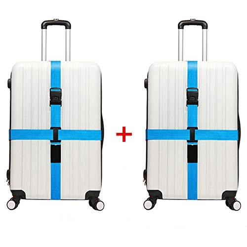 - JYHY Adjustable Luggage Strap Travel Suitcase Baggage Packing Belt Long Cross Straps,Blue 2 Pack