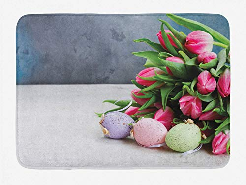 Natural Color Bathtub Mat, Beautiful Bouquet of Fresh Tulip Flowers and Colorful Easter Eggs Sweet Photo, Bathroom Shower Mat Machine Washable Non Slip Backing, 23.6 W X 15.7 L Inches, multicolor