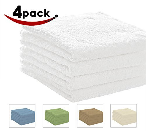 Pacific 600 GSM Linens Bath Towel Set, 27 x 54 -Inch, Set of 4, White