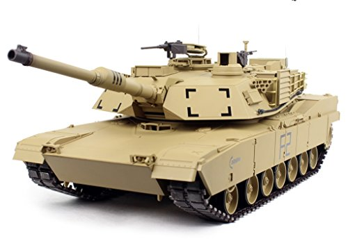 Remote Control 2.4Ghz 1/16 Scale US M1A2 Abrams Air Soft RC Battle Tank Smoke & Sound (Upgrade Version w/ Metal Gear & Tracks)