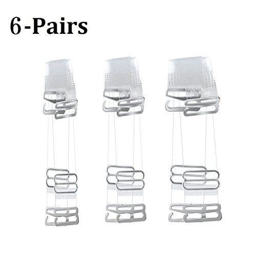 Muhuyi 6Pairs Clear Bra Straps Adjustable Invisible Replacement Shoulder Straps Multiple Width