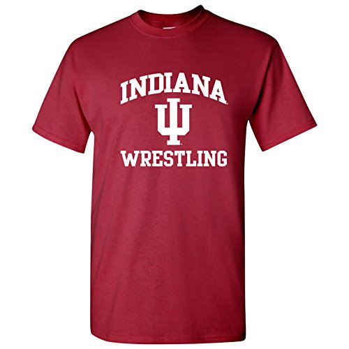 UGP Campus Apparel AS1104 - Indiana Hoosiers Arch Logo Wrestling T-Shirt - Medium - Cardinal (Red Wrestling Arch)