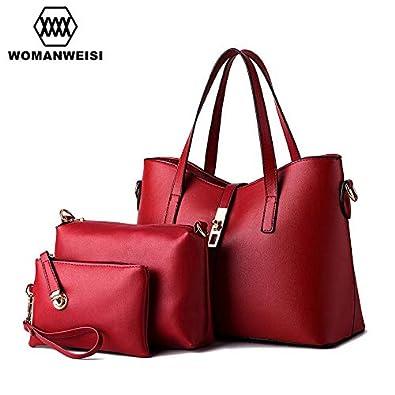 f731e1581c6 Amazon.com: 12 Color Luxury Female Purse Handbag Tote Bags Set European and American  Style Famous Designer Brand Bags Women Leather Handbags Color Wine Red: ...