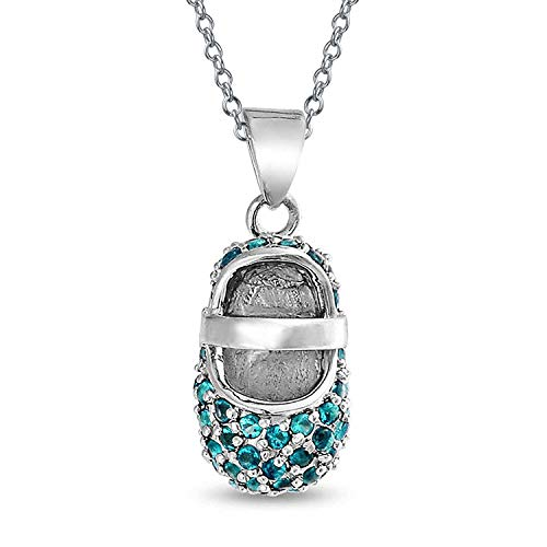- Aqua Blue Pave CZ Baby Shoe Mary Jane Style Pendant Necklace Charm Simulated Aquamarine Cubic Zirconia Sterling Silver