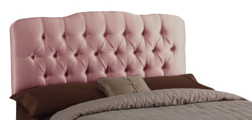 - Skyline Furniture Surrey Full Shantung-Upholstered Tufted Headboard, Woodrose
