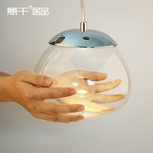 Injuicy Lighting 3W LED Pendant Ceiling Lamp Clear Glass Droplight Child Bedroom