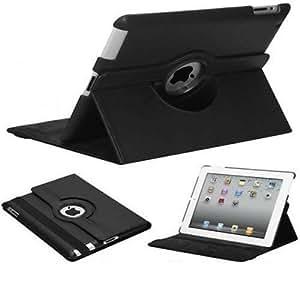 PELTEC@ - Funda giratoria para iPad 2 / iPad 3 / iPad 4 (piel sintética, incluye protector de pantalla, toallita limpiadora de microfibra y lápiz capacitivo), color negro