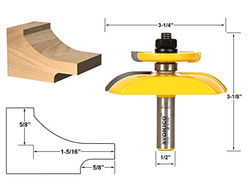 - Yonico 12135 Raised Panel Router Bit with Backcutter Cove 3-1/4-Inch Diameter 1/2-Inch Shank