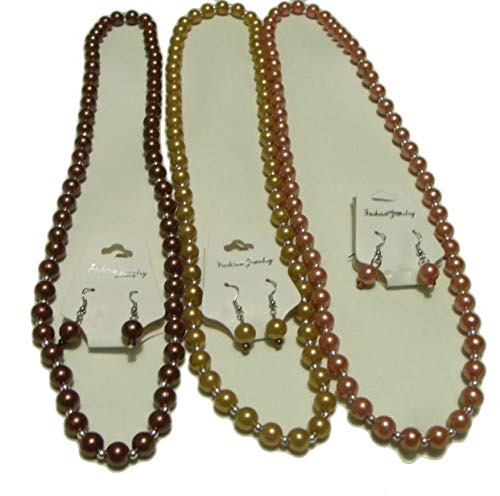 Fashion Jewelry Costume ~28 inches Faux Imitation Pearls and Metal Beads Long Necklace and Earrings Set of 3 Brown