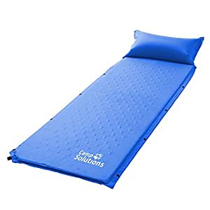Camp Solutions Camping Self Inflating Sleeping Pad with Attached Pillow - Lightweight Air Sleeping Pads
